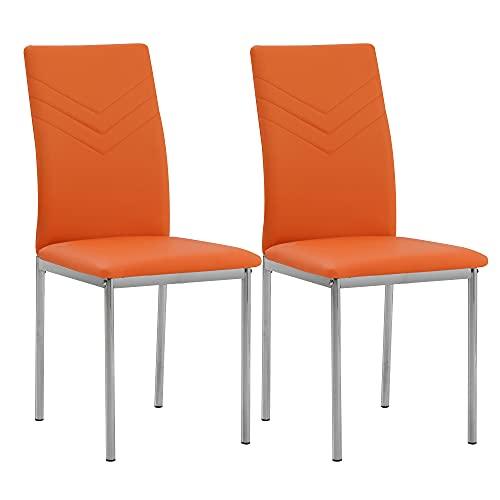 Albatros Verona Lot de 2 chaises, Orange, Pieds Chrome, SGS Tested