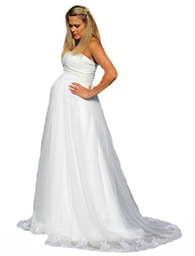 Brautkleid Traum Hochzeitskleid A-Linie Umstandskleid Weiß Ivory Spitze 34-54 (44, Ivory)
