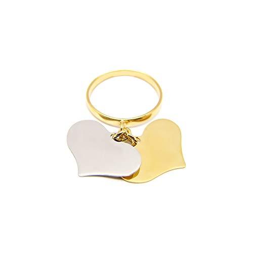 Anello con 2 ciondoli cuore pendenti in oro 18kt personalizzabile