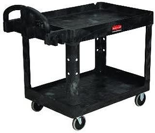 RCP450088BLA - Black Heavy Duty 2 Shelf Utility Cart, 17 1/8 x 39 1/4
