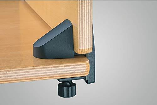Gedotec Blenden-Befestigung für Schreibtische & Büro-Tische | Blendenhalter Kunststoff grau | Blenden-Halterung für Plattendicke 15–34 mm | 1 Stück - Aufbau-Klemme für Sichtschutz & Trennwände