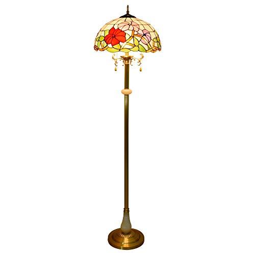 Efficiënt 16 inch tiffany-Europese stijl hoogwaardige ochtendglory-lampen zuiver koper verticale leeslamp voor studies woonkamer slaapkamer kamerdecoratie