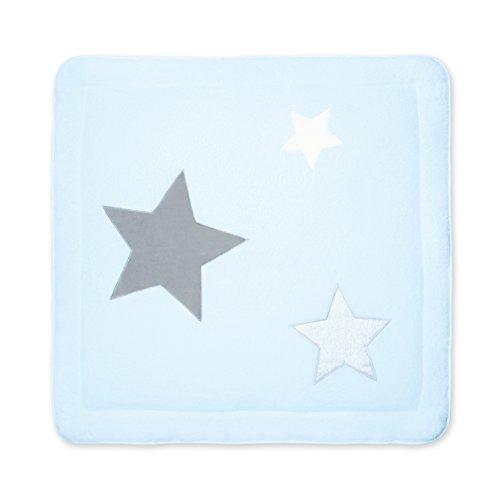 BEMINI - Tapis de Parc - 100 x100 cm - Collection Stary - motifs étoiles Bleu pale - en Softy