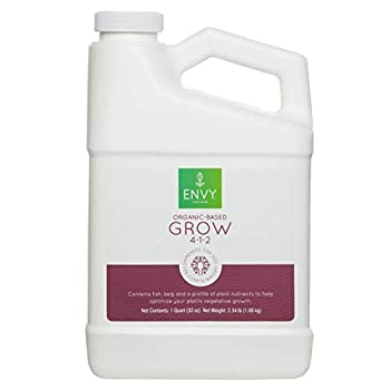 ENVY Organic-Based Grow - Fish Emulsion Fertilizer with Seaweed Molasses & Soy Protein Hydrolysate  Quart