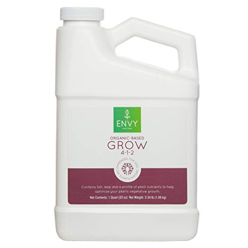ENVY Organic-Based Grow - Fish Emulsion Fertilizer with Seaweed, Molasses & Soy Protein Hydrolysate (Quart)