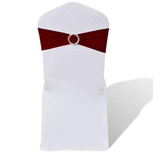 25X Silla Lazos Stretch schleifenb?NEL + Diamante Hebilla Burdeos Living Room sofá Protectora Top qualitat para sillón