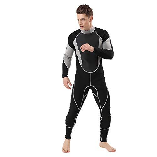 iYmitz 3MM Herren Einteiliger Neoprenanzug Ganzkörperanzug Super Stretch Tauchanzug Schwimmen Surfen Schnorcheln Surfanzug(Grau,XL)
