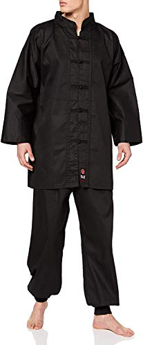 M.A.R International Kung Fu Uniform Gi Suit Outfit Clothing Costume Gear Martial Arts Wu Shu Wing Chun Tai Chi Cotton Fabric Black 200cm