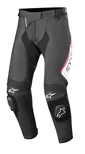 Alpinestars Motorradhose Stella Missile V2 Leather Pants Black White Fuchsia, Schwarz/Weiss/Fuchsia, 40
