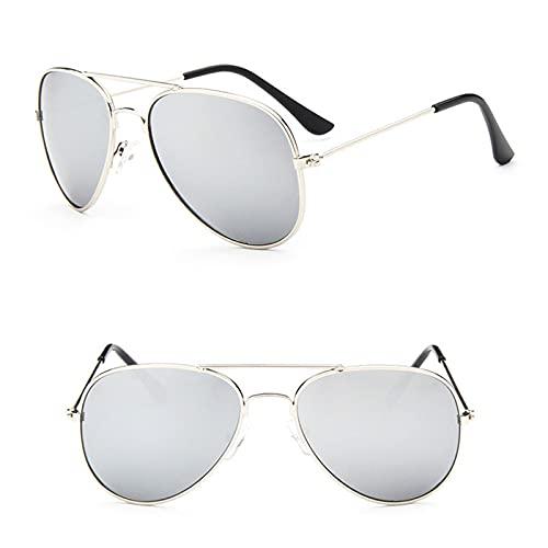 YiXing Gafas de sol clásicas para niñas, espejo colorido para niños, marco de metal, lentes de compras, color plateado