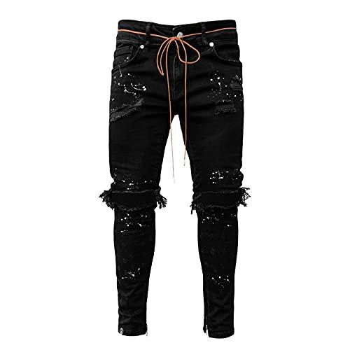 BIBOKAOKE Herren Jeans Destroyed Löchern Jeanshosen Stretch Skinny Jeans Hose Used Look Wasserwäsche Denim Hose Männer Vintage Slim Fit Denim Pants Freizeithose Arbeitshose mit Gürtel Seil