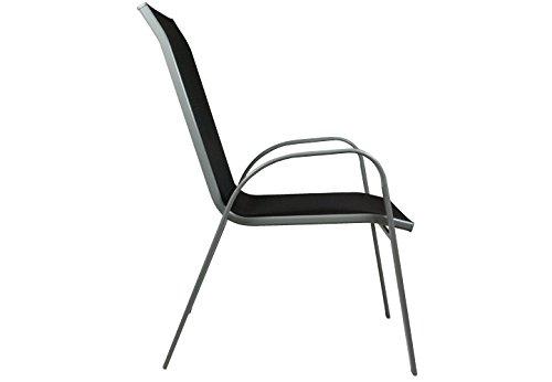 Nexos 5-teiliges Gartenmöbel-Set – Gartengarnitur Sitzgruppe Sitzgarnitur aus Stapelstühlen & Esstisch – Aluminium…