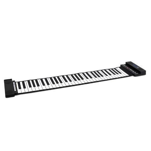 Schubert Piano Roll-up con 61 Teclas (Teclado Enrollable, Funcionamiento con Pilas o Cable, función de grabación, Altavoces estéreo Integrados, Apto para Auriculares) - Negro