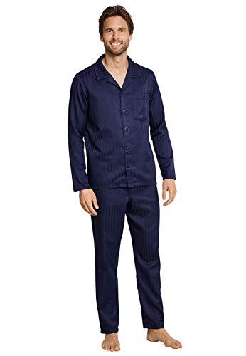 Seidensticker Herren Satin Pyjama lang Zweiteiliger Schlafanzug, Blau (Nachtblau 804), Small (Herstellergröße: 048)