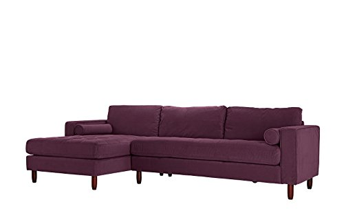 Divano Roma Furniture Mid-Century Modern Tufted Velvet Sectional Sofa, L-Shape Couch with Extra Wide Chaise Lounge (Purple)