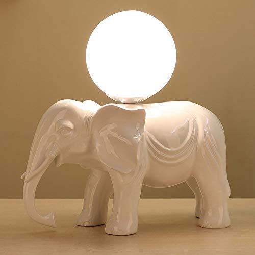 Moderne tafellamp van kunsthars, olifant, bureaulamp, individueel, lampenkap van glas, bol, bureaulamp, slaapkamer, nachtlampje (kleur: rood)