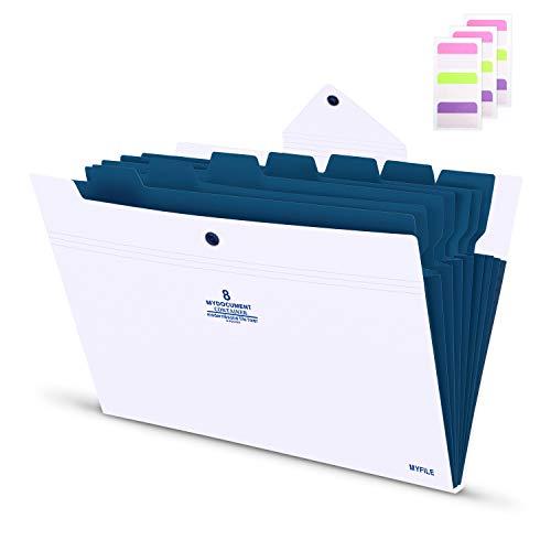 Fächermappe a4 Dokumentenmappe erweiterbar Ordnungsmappe für 170 Blatt mit 7 Register Akkordeon Weiß Abdeckung