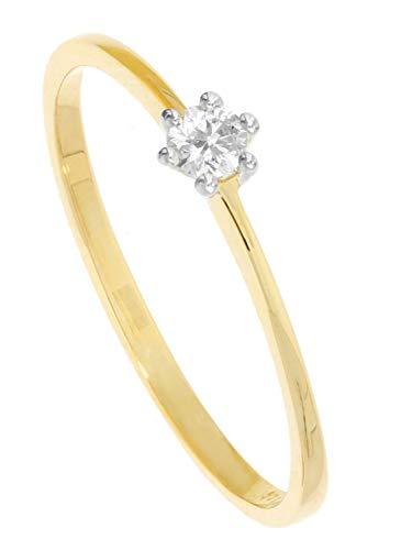 MyGold Verlobungsring Weißgold Gelbgold 585 Gold (14 Karat) Mit Brillant 0,10ct. Solitärring Gr. 56 Diamantring Damenring Heiratsantrag Diamond Love R-00974-G461-DIA04S/H/S2-0,10ct-W56