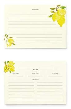 Kate Spade New York Double Sided Recipe Card Refills Set of 40 Lemons