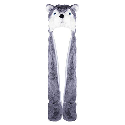 Husky Timber Wolf Cute Plush Animal Winter Hat Warm Winter Fashion (Long) (Gray)