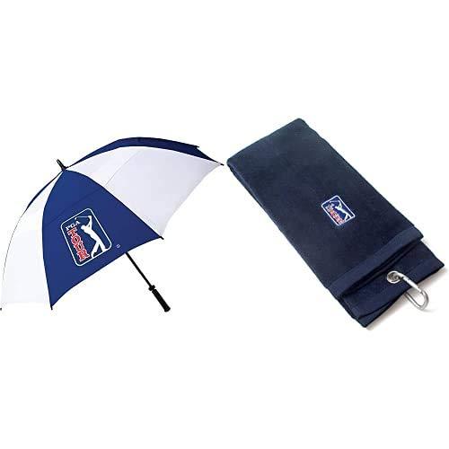 PGA Tour PGAT10 - Paraguas resistente al viento doble varilla de golf + PGAT53 - Toalla de golf