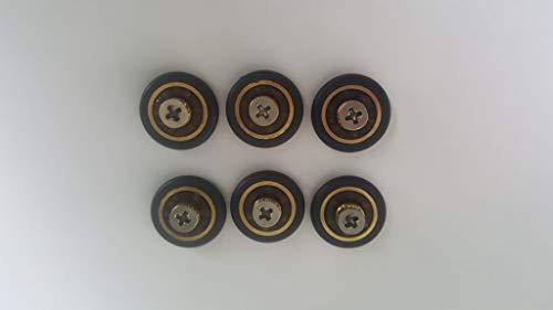 Ruedas con rodamientos para repuesto de mampara de ducha corrediza, 6 unidades, 16 mm de diámetro con tornillo M3. Tornillos incluidos