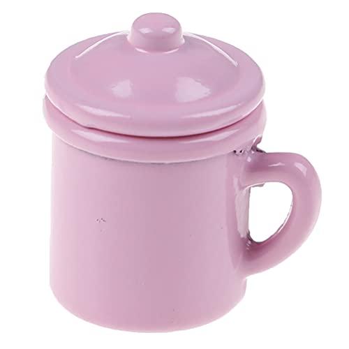 TBoxBo 1 pieza 1/12 casa de muñecas miniatura taza gárgaras modelo casa de muñecas accesorios de baño Mini retro apenado taza de agua modelo casa de muñecas bolsillo comida juego agua taza (rosa)