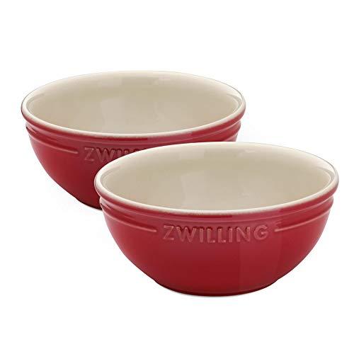 2er Set Keramikschüsseln kirschrot - je 450 ml - 15 cm Durchmesser