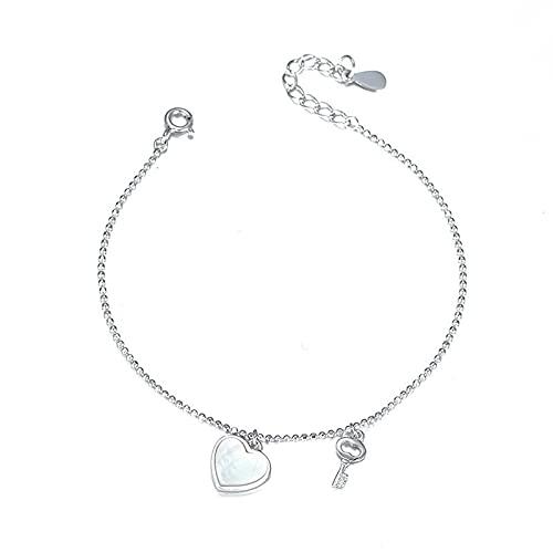 S925 pulsera de cuentas pequeñas de corazón de melocotón de concha de plata esterlina pulsera de llave de corazón salvaje crudo