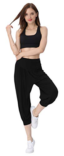 HOEREV Frauen-Super Soft Modal Spandex Harem Yoga Pilates Capri Hose