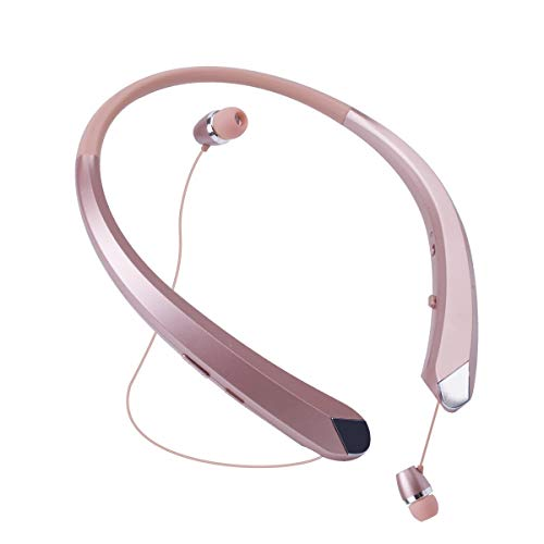 Bluetooth Headphones, Wireless Neckband Earbuds Retractable Headset Stereo Sweat-Proof Sports Earphones with Mic for iPhone X/8/7/6, Android and Other Bluetooth Devices (Rose Gold)