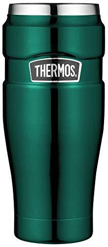THERMOS Thermobecher Stainless King, Kaffeebecher to go Edelstahl grün 470ml, Isolierbecher spülmaschinenfest, dicht, 4002.287.047, Tea to Go 7 Stunden heiß, 18 Stunden kalt, BPA-Free