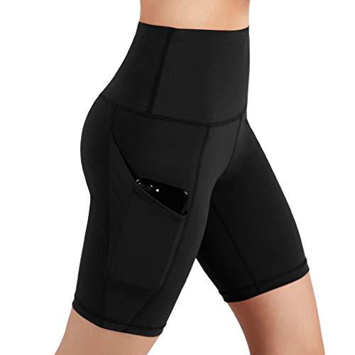 RISTHY Leggins Pantalones Cortos Yoga Correr Deportivos Mujer Mallas Pantalones con Bolsillos Push Up Fitness Pantalones de Deporte Cintura Alta Gimnasio Ropa Deportiva Elástico