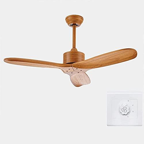 WDSZXH Ventilador de Techo Vintage Ventilador de Techo de Madera Ventilador Industrial sin luz Remex Control Móvil Decorativo Blanco Fans Retro (Color de la Hoja: D KONB Switch)