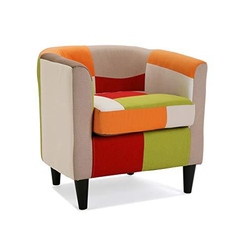 Versa 19500458 Sillón tapizado con reposabrazos Red Patchwork, Algodón, Rojo, Naranja, Beige, 56 x 62 x 64 cm
