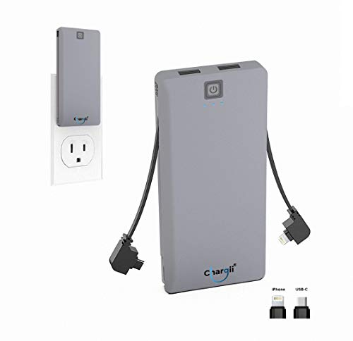 Chargii - Power Bank - All-in-One Portable Charger - Cell Phone Battery Backup - Built-in Wall Plug AC Adapter - 2 USB Ports - 5000 mAH (Grey, iPhone & Android)