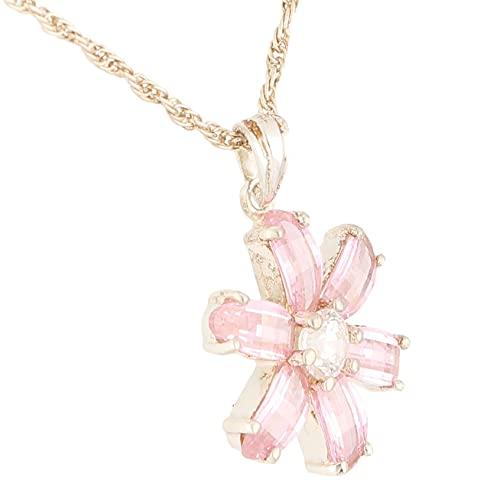 Jollys Jewellers Colgante de plata de ley con zafiro rosa simulado y diamante simulado y cadena de 47 cm