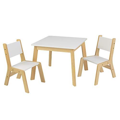 KidKraft- Mesa con 2 sillas de madera y blanca, para sala de juegos infantil / muebles de dormitorio, Color Blanco (27025)