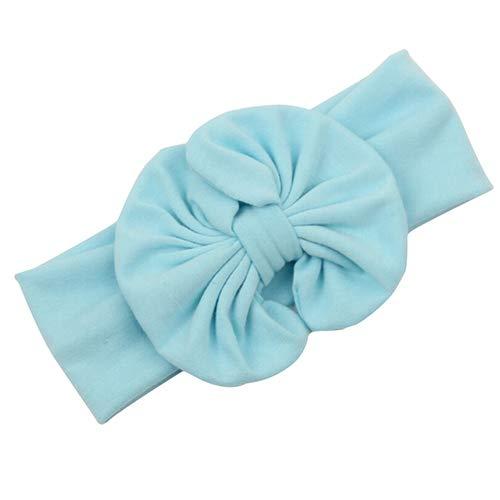 Tianxiangjjeu - Fascia per capelli per bambina, con fiocco grande, elasticizzata, colore: Azzurro