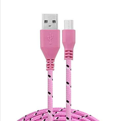 Kabel gevlochten 1 m micro-USB voor Huawei P Smart 2019 smartphone Android oplader, USB-aansluiting, nylondraad (roze)