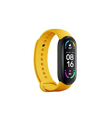 Para Xiaomi MI Band 6 CN Versión estándar Spo2 Fitness Tracker color negro con correas originales adicionales (negro más correa amarilla original)