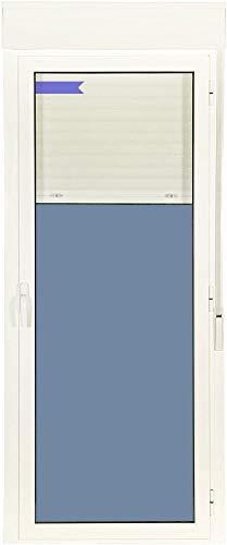 Puerta Balconera Aluminio Practicable Derecha Con Persiana PVC 880 ancho x 2185 alto 1 hoja (guías...