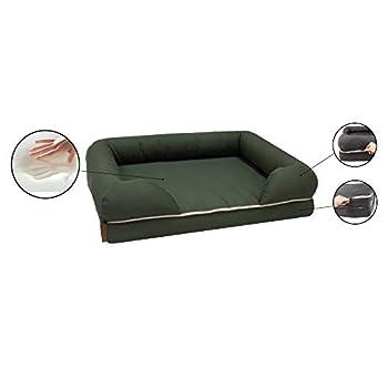CROCI Revenant Limitless, Panier pour Chien, Lit mémoire de forme en mousse, Canapé ergonomique avec housse lavable, Coussin imperméable, Lit pour chien Taille S, Format 64x51cm, Vert