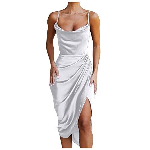 ASDVB Damen Sexy Spaghetti Strap Satin Kleid Rückenfreies Geraffte Asymmetrische Saum Cami Einfarbig Hohe Taille Kleid