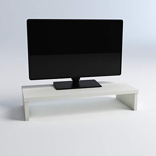 Henor Soporte Madera Monitor Elevador de Pantalla TV 42x26.5x12 Cm Muebles de TV, Elevador Monitor, Soporte Monitor pc, Soporta 50Kg. Blanco