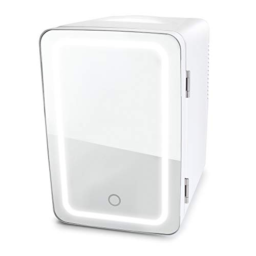 Personal Chiller LED Lighted Mini Fridge with Mirror Door White