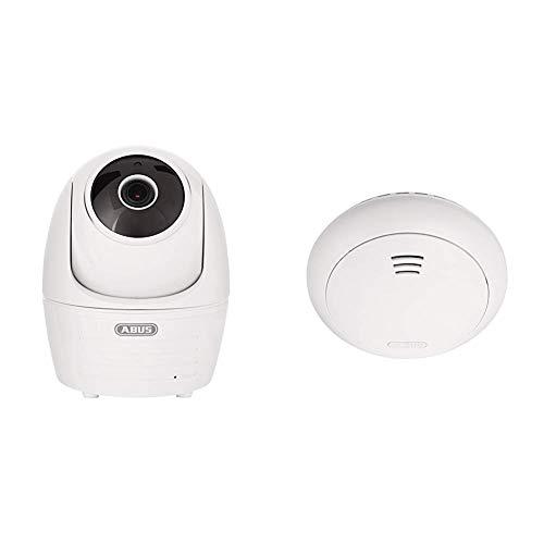 ABUS Innenkamera mit Schwenk und Neigefunktion | Full HD 1080p | Infrarot Nachtsichtfunktion | weiß & Funk-Rauchmelder Smartvest Erweiterung der Funk-Alarmanlage | inkl. Hitze Detektion | weiß