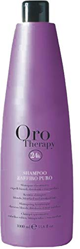 Zaffiro Puro Keratin Shampoo for Blonde, Bleached and Streaked Hair 1000ml Oro Therapy ® cheratinico per capelli biondi, decolorati e con méches