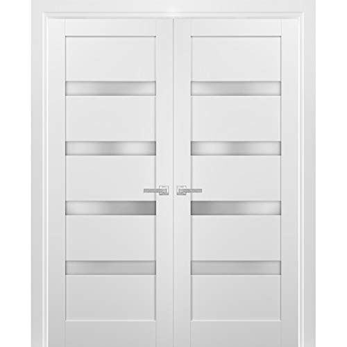 Lucia 2555 Matte White Closet Bedroom Sturdy Doors Wood Solid Panel Frame Trims Solid French Double Doors 72 x 80 inches Clear Glass 3 Lites