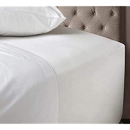 Noah's Linen Extra Deep Fitted Sheet King Size White 100% Cotton 200 Thread Count 200 TC Percale 40cm/16 Inches